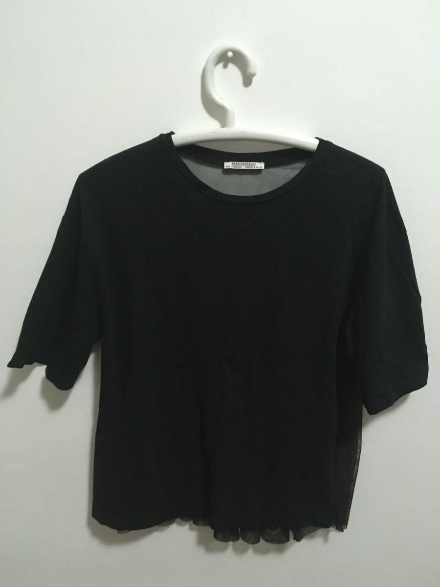 Zara TransparenteFeminina Camiseta Preta Camiseta Costas A5Rj34Lq