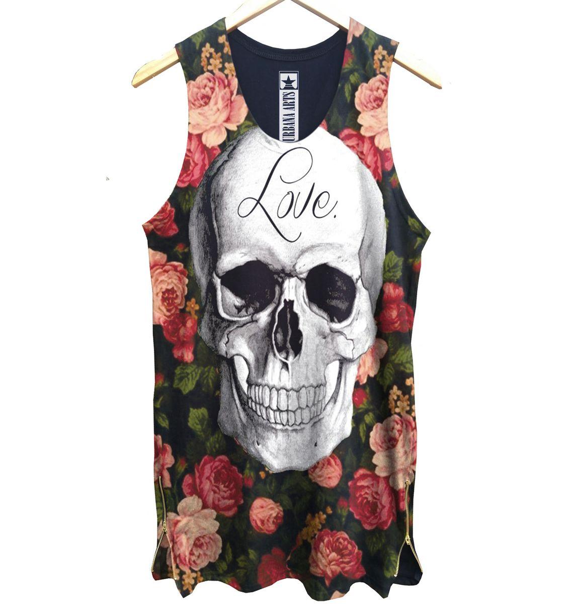 camiseta regata caveira floral swag long line alongada preta - camisetas  urbana arts c4781312d7a