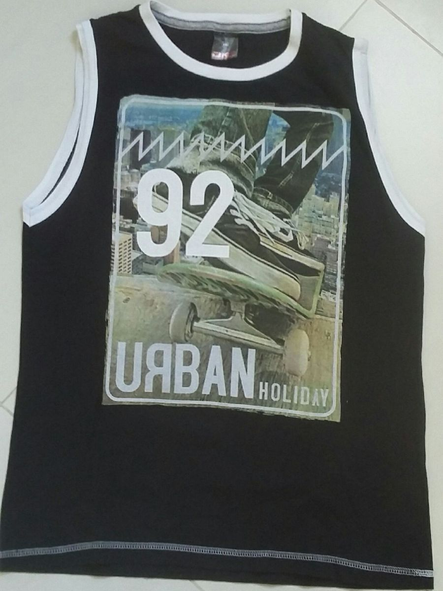 camiseta regata estampada preta - menino sem marca 2db3b3affd7