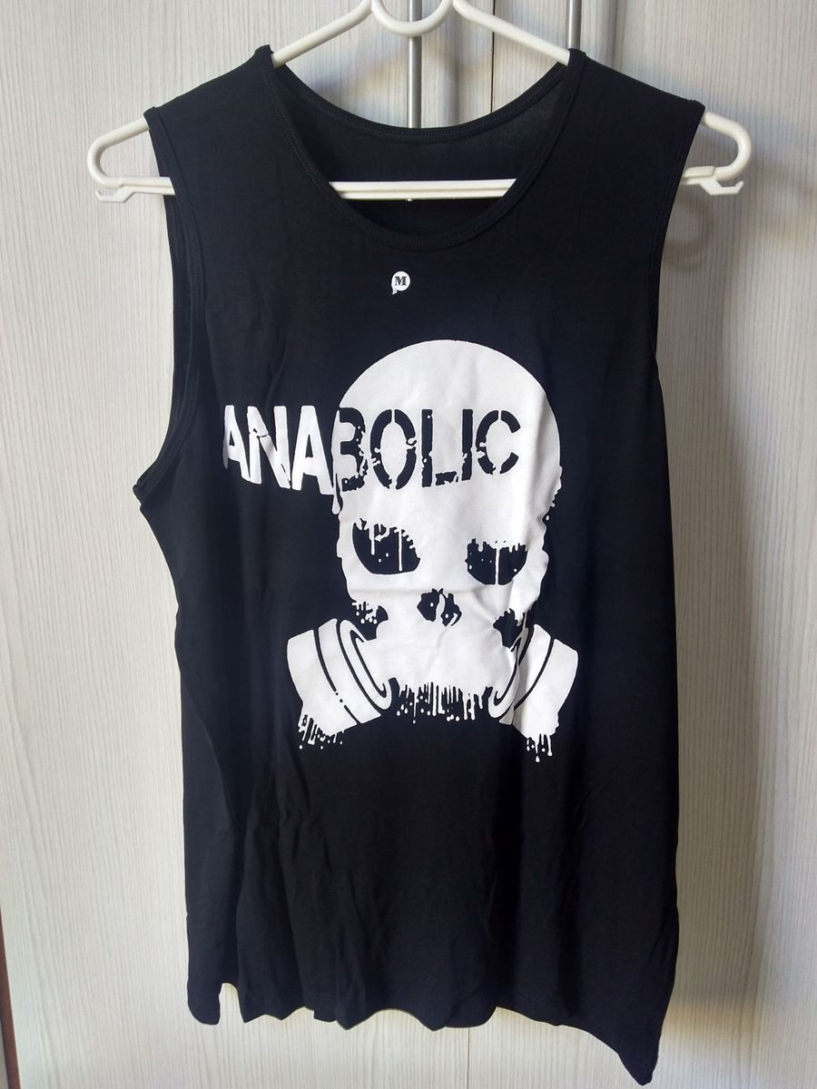 camiseta regata fitness anabolic preta - camisetas sem marca 39ef8a35eac