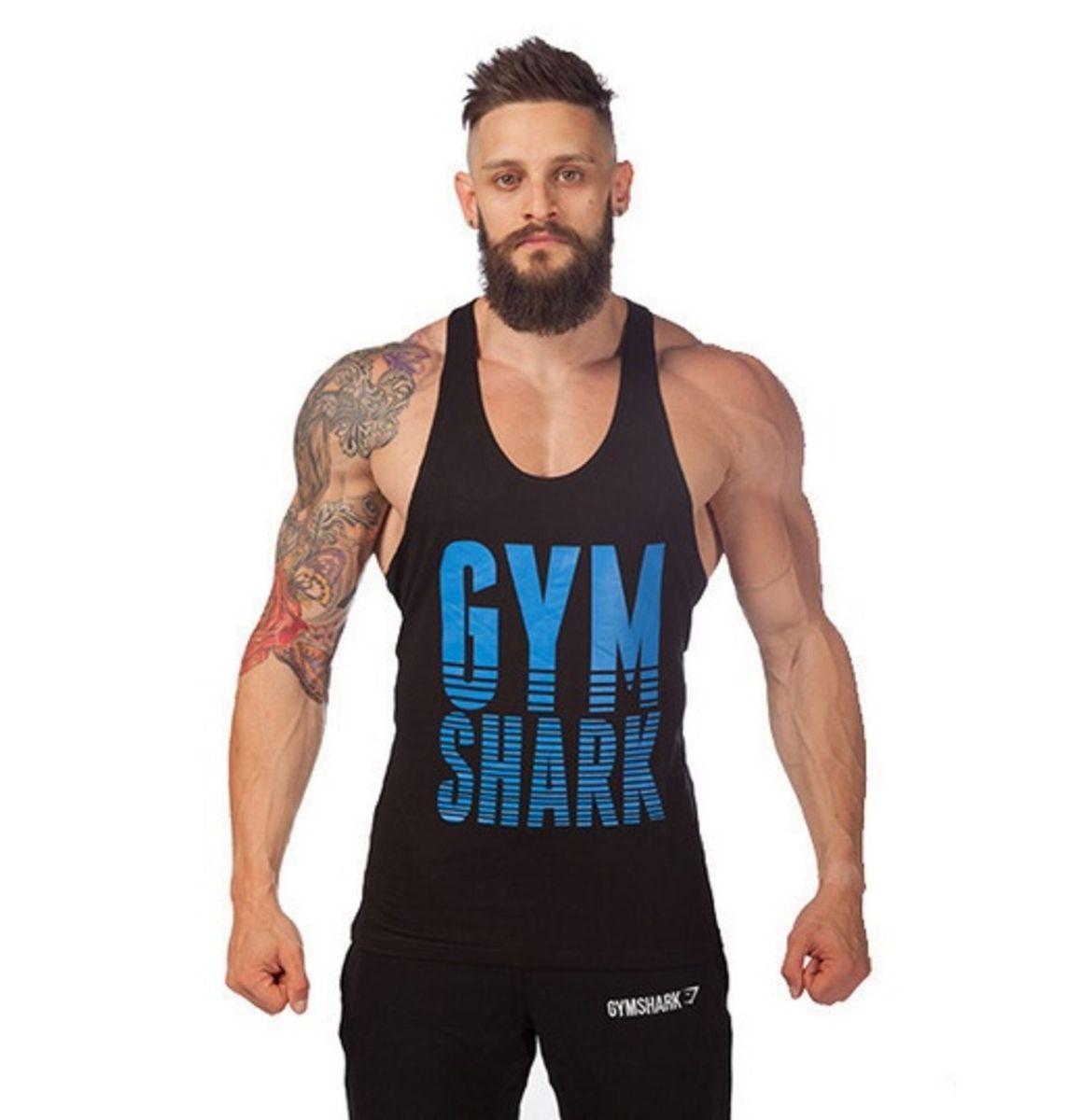fcf250c08657f camiseta regata fitness gym shark importado - tamanho m - esportes sport gym