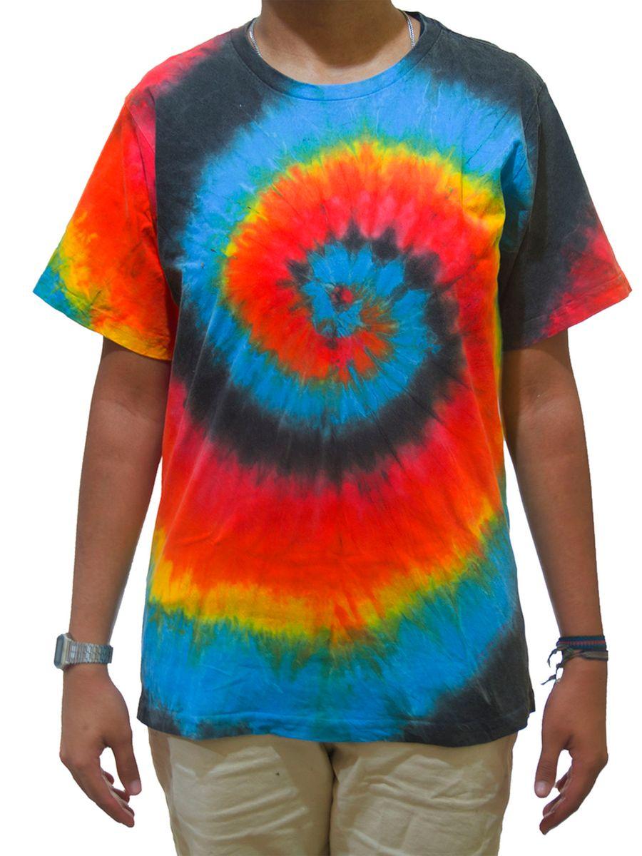 ad81ded5f7 Camiseta Tie Dye Espiral Preto