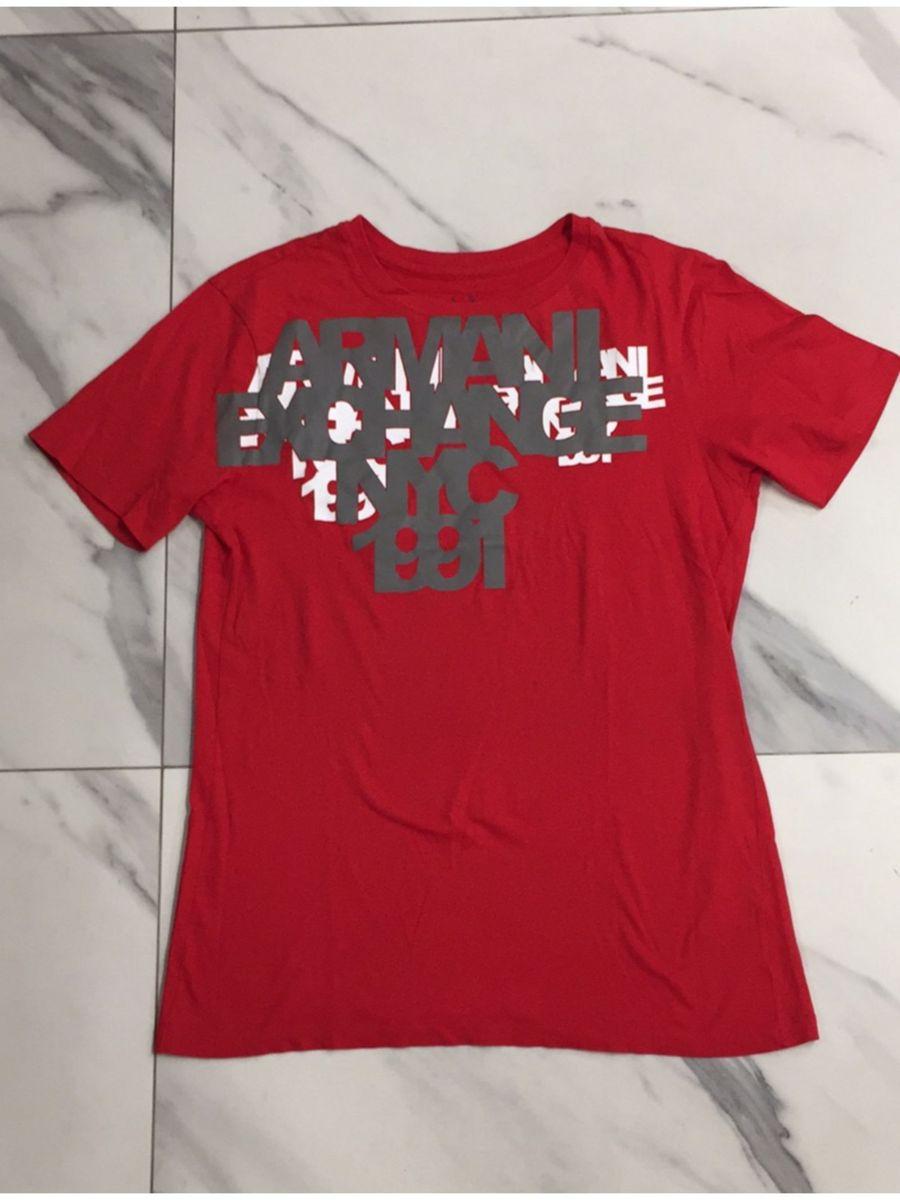 Camiseta Vermelha Importada   Camisa Masculina Armani Exchange Usado ... 243795e87b