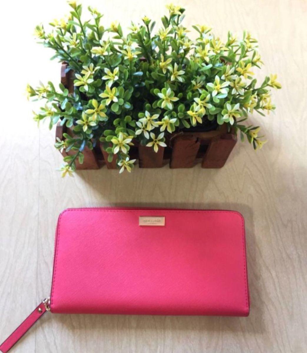 carteira luxo kate spade vermelho couro saffiano coral nova original - carteiras kate-spade
