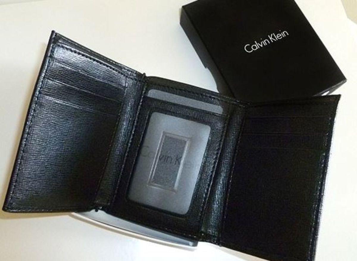 251302cf3c619 carteira masculina calvin klein - couro - preta- trifold - carteiras calvin  klein