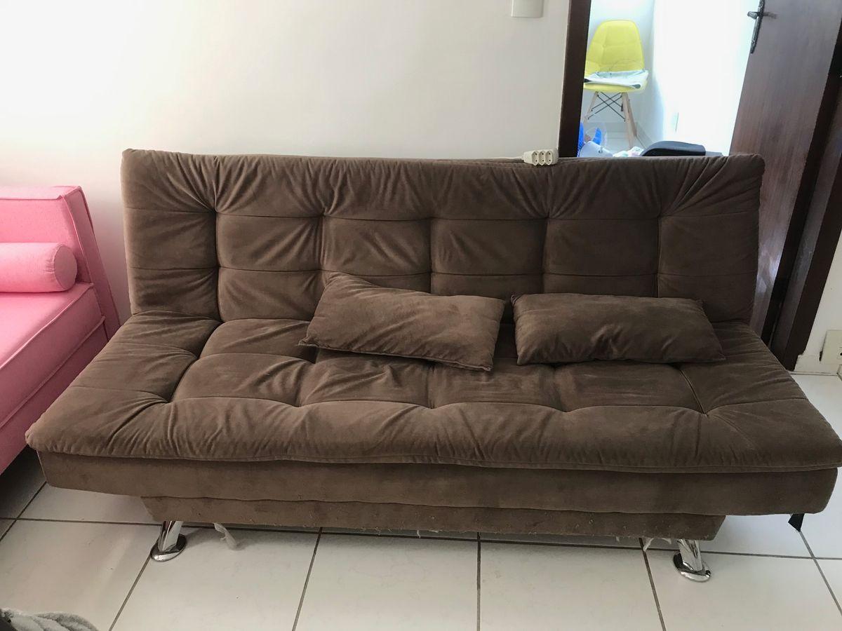 Sofa Cama 3 Lugares Casal Premium Suede Marrom Sofa Mobly Usado 48380864 Enjoei
