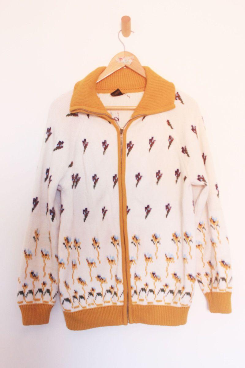 casaco de tricot bordado - casaquinhos vintage