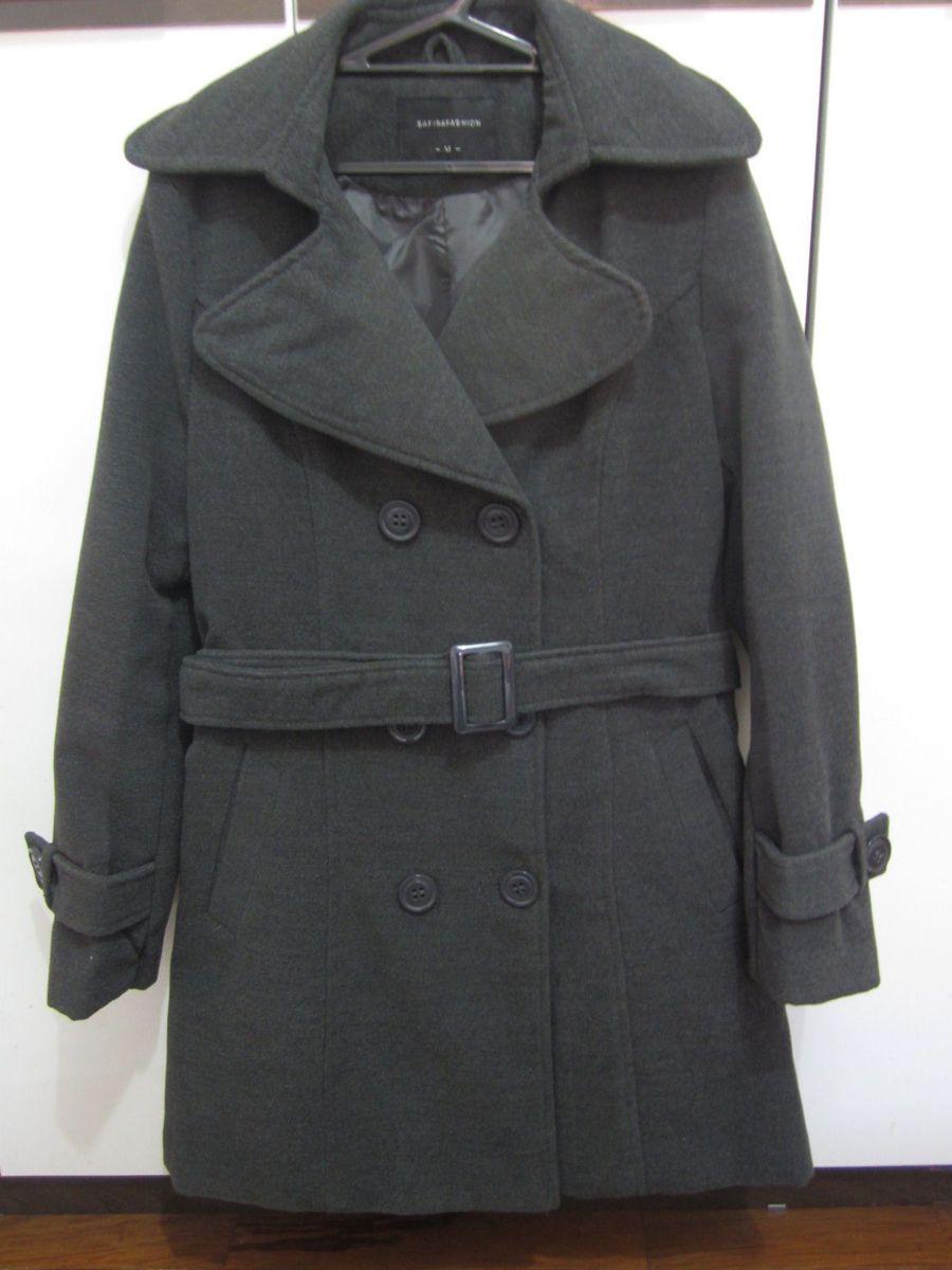 efffbf7fb Casaquinho Safira Fashion Casaco Trench Coat Cinza | Casaco Feminino ...