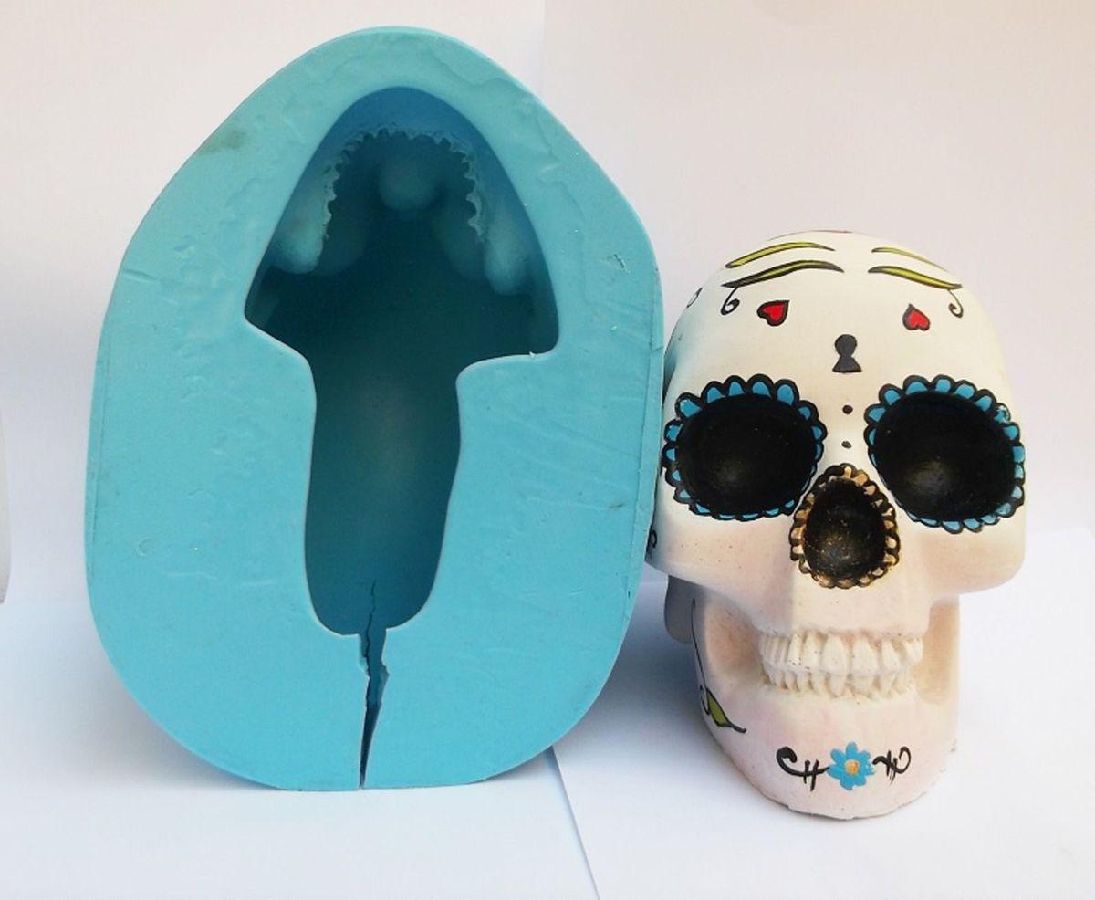 caveira crânio g molde de silicone p orgonite vela gesso resina - decoração  molde brasil 77bbf1ab555