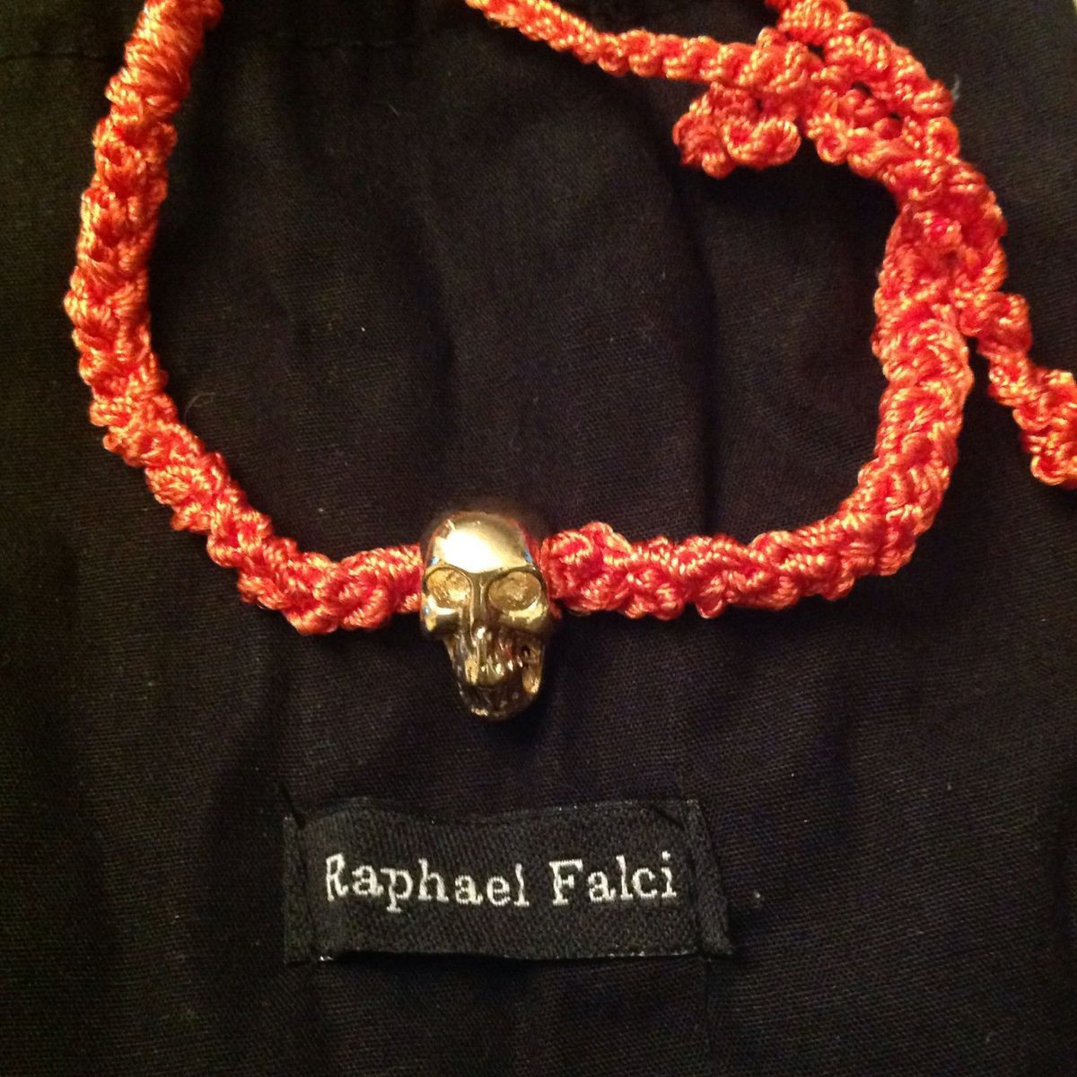 caveira macramê laranja raphael falci - bijoux raphael-falci