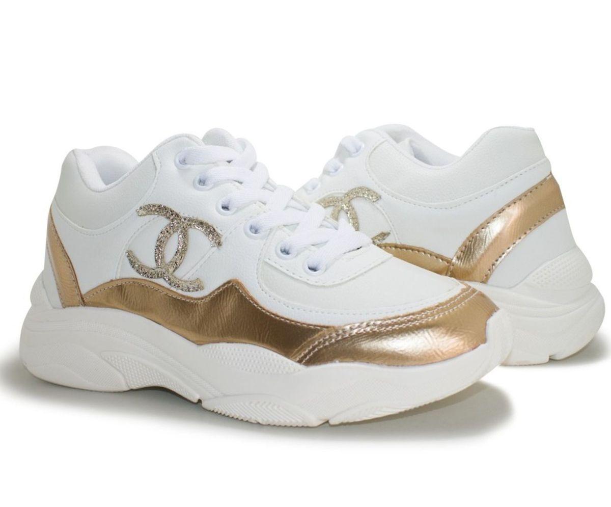 25a77464f0 chanel feminino 36 lindo branco dourado moda blogueiras - tênis chanel