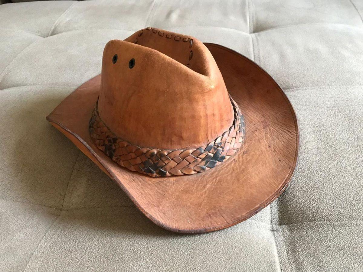 chapéu de couro legítimo caramelo - cowboy   country   peão - chapeu chapéu  cowboy couro aaec24fb092