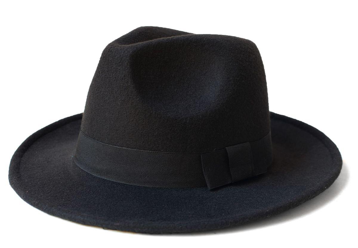 chapéu fedora preto aba grande - chapeu sem marca 9ec325e69aa