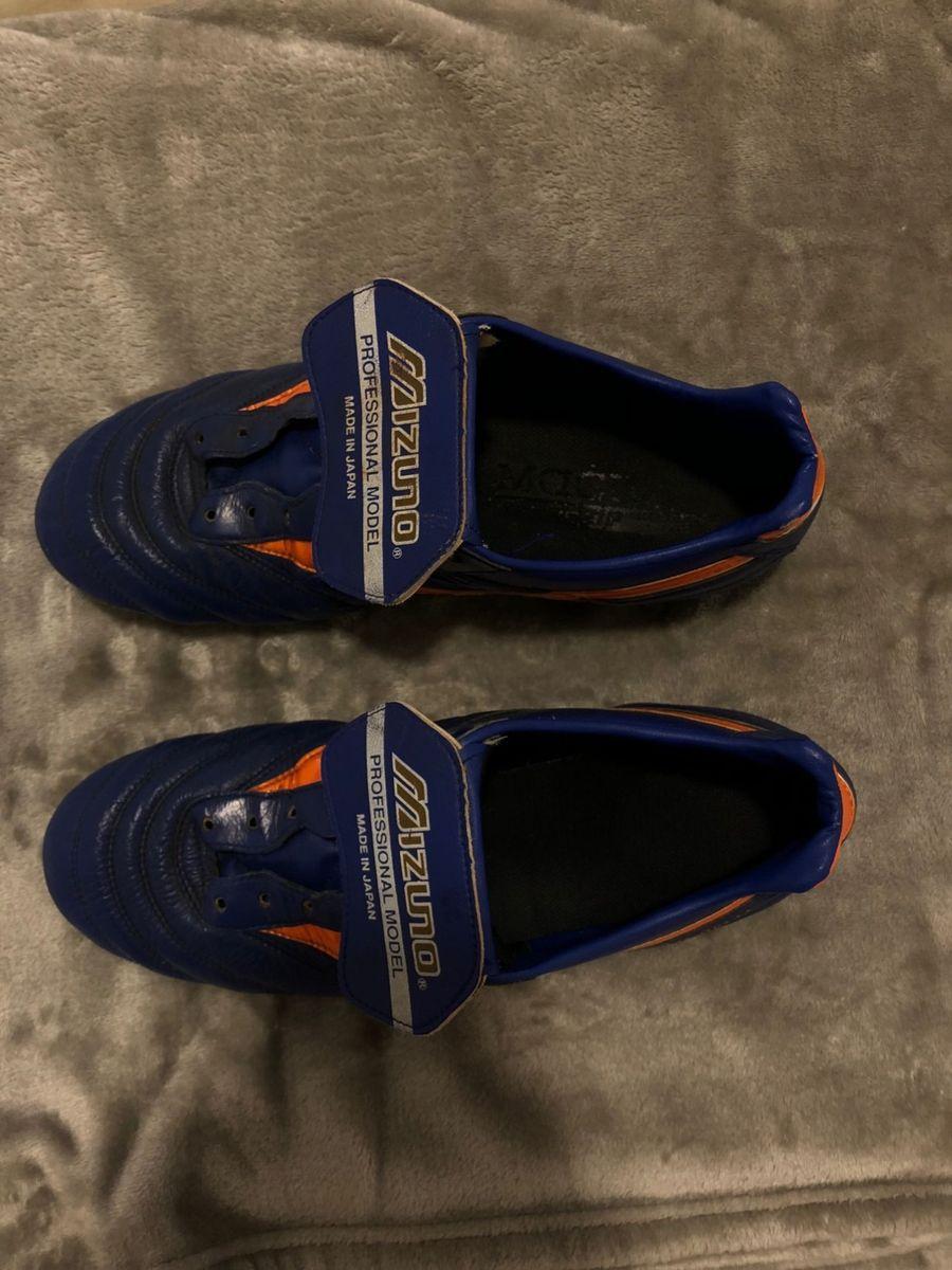 6556d6a766 chuteira campo mizuno morelia japan md 2 masculina - azul e laranja - tênis  mizuno