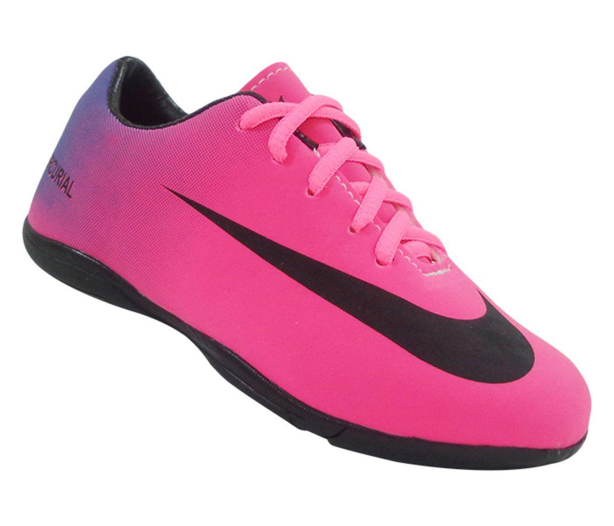 chuteira infantil futsal nike mercurial pink e roxo - menino nike 5ce2a979967d5