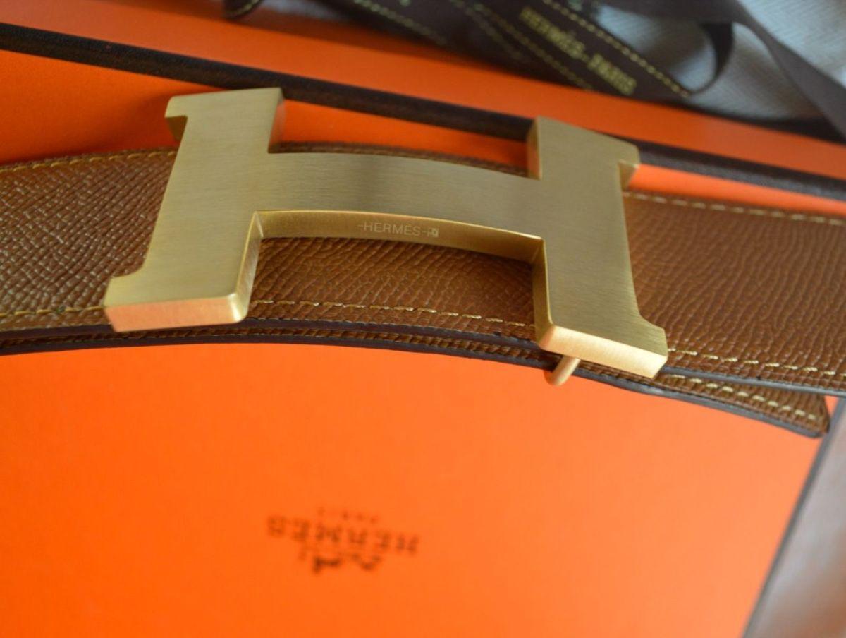f7365d8e744 Cinto Hermes Reversível + Fivela Ouro 42mm