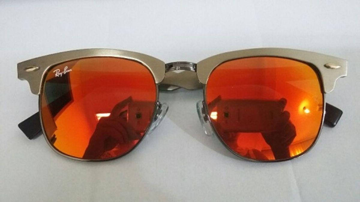 Clubmaster Aluminio Dourado Laranja Espelhado   Óculos Masculino Ray ... 9d58236f8b