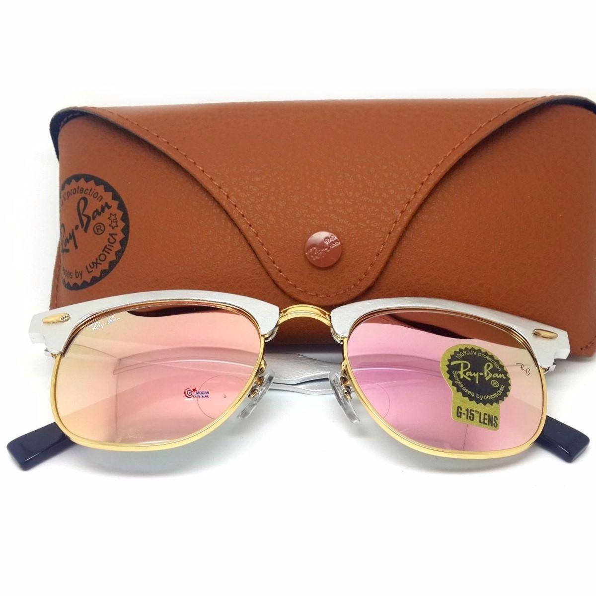 b6ad9b021 Clubmaster Aluminio Prata Rosa Espelhado | Óculos Feminino Ray Ban Nunca  Usado 14203784 | enjoei