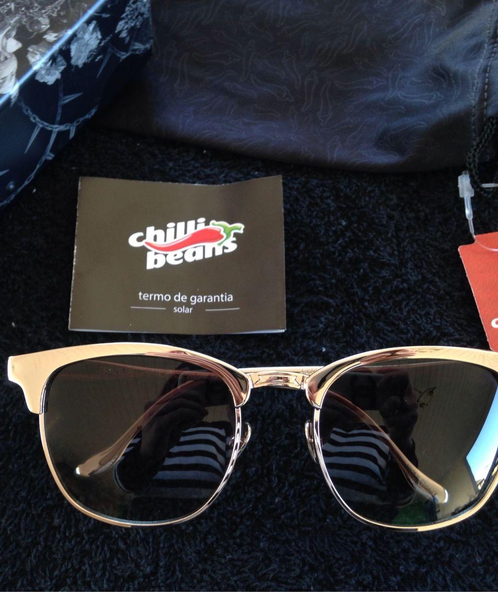 Clubmaster Banhado a Ouro 18k   Óculos Masculino Chilli Beans Usado ... 420d555846