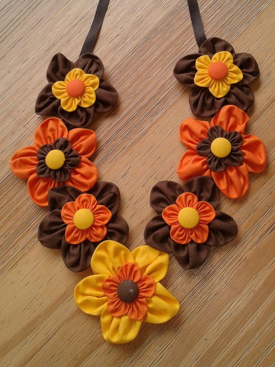 Colar com Flores de Fuxico | Bijuteria Feminina Artesanal Nunca Usado  31825271 | enjoei