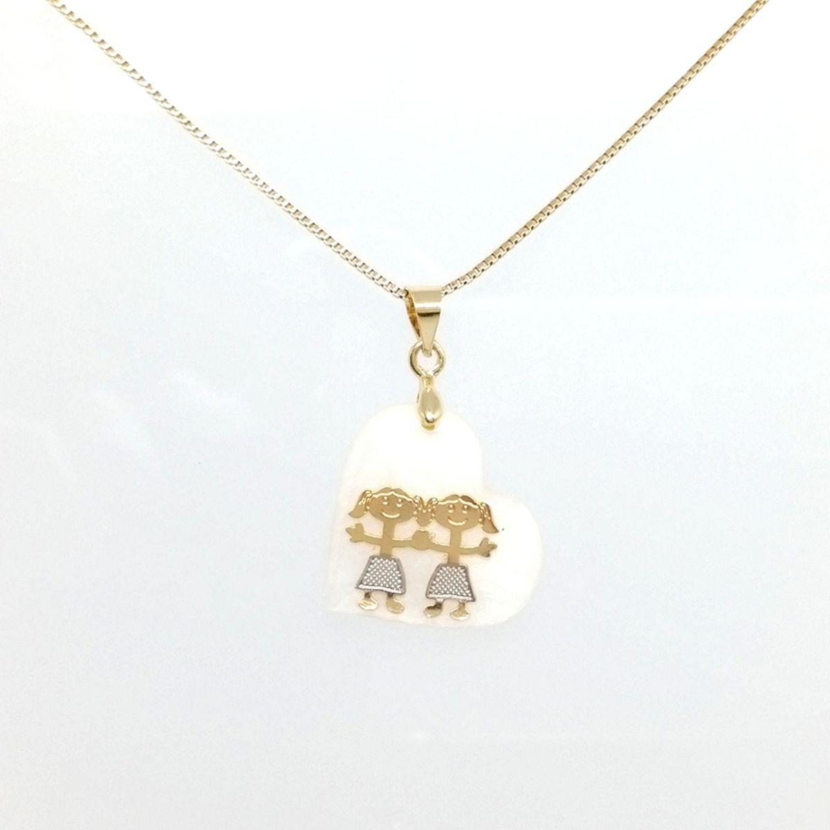 d0b69fae3712e colar com pingente coração com 2 meninas folheados a ouro 18k. - jóias juju  mel