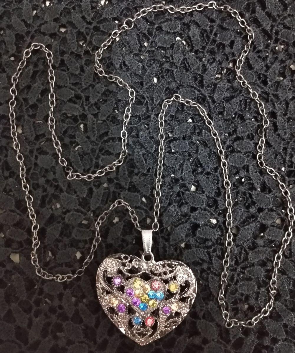 colar coração - bijoux artesanal