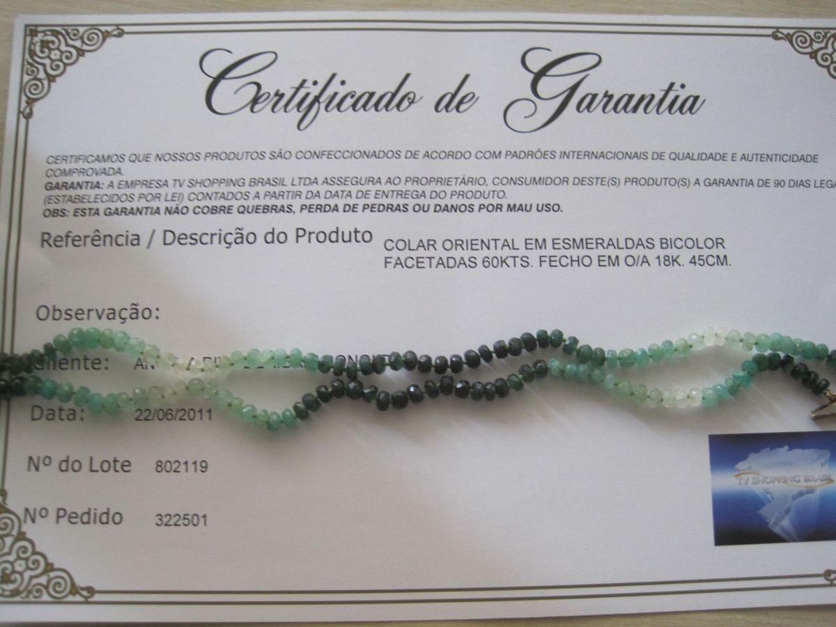 4729d6729f4f3 Colar de Esmeraldas Oriental   Jóia Feminina Tv Shopping Brasil ...
