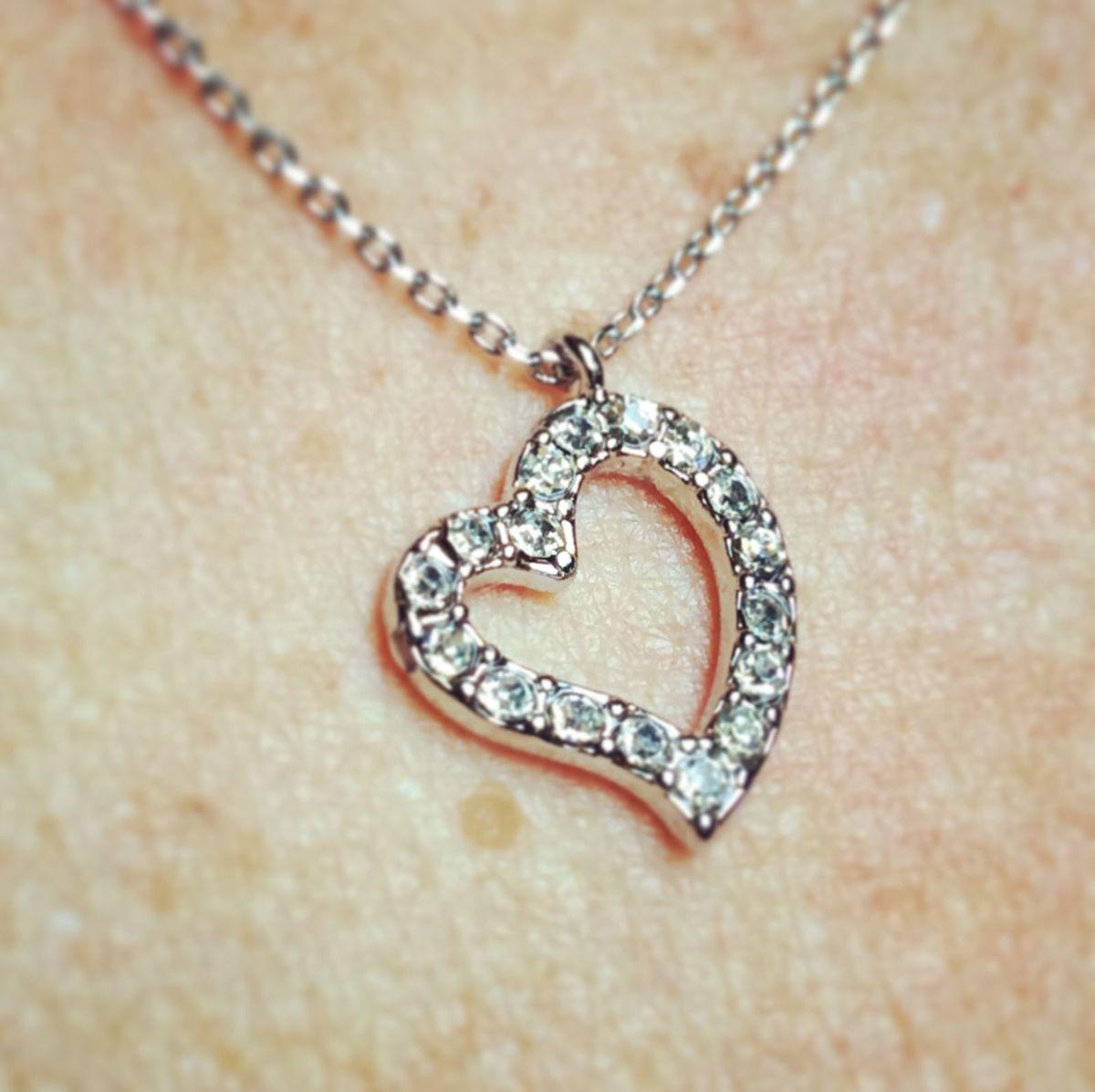 Colar e Pingente Coração Strass Open Heart   Bijuteria Feminina ... 788c0e281c