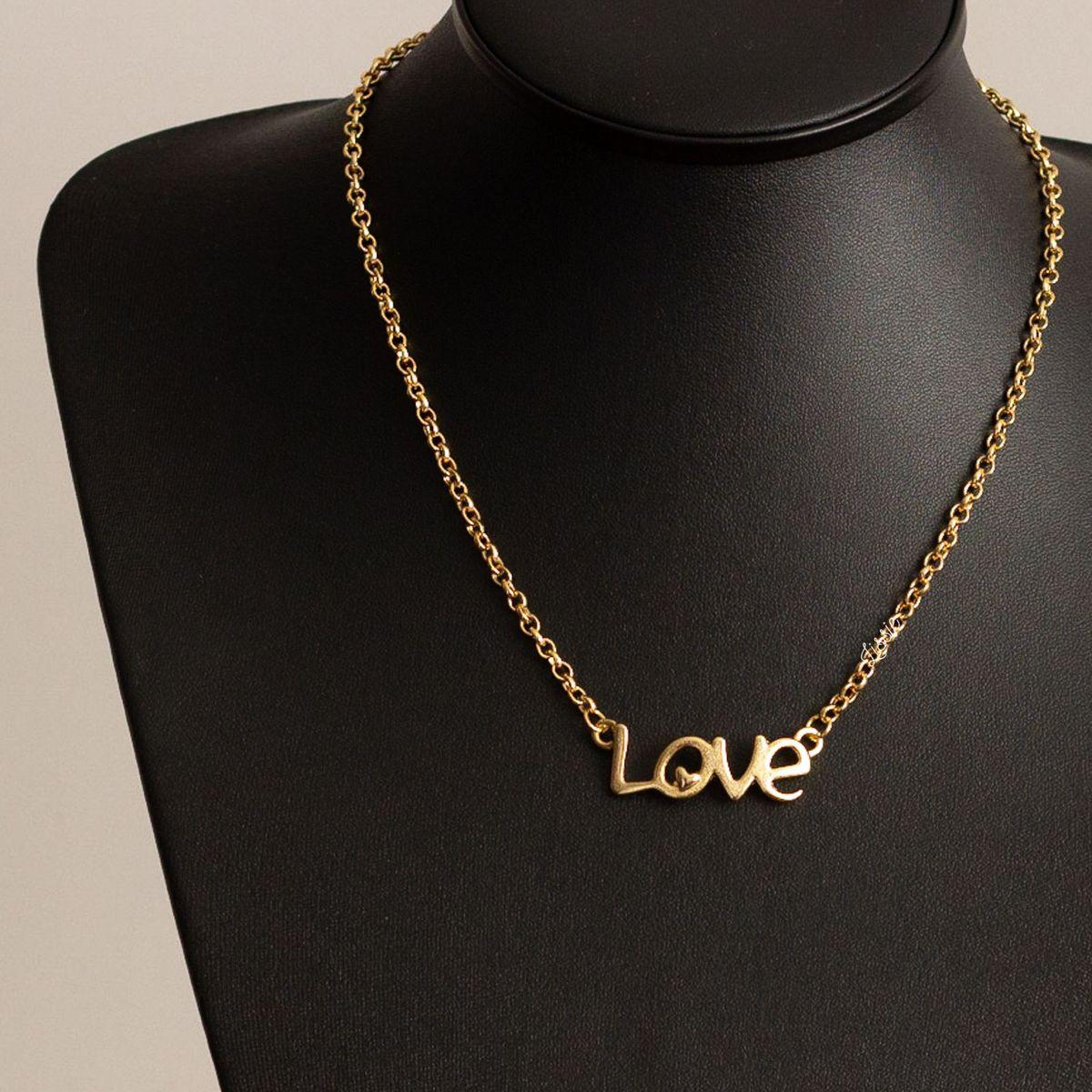 colar feminino corrente dourada com pingente love coração - bijoux lissie  acessórios 7d3959e34f