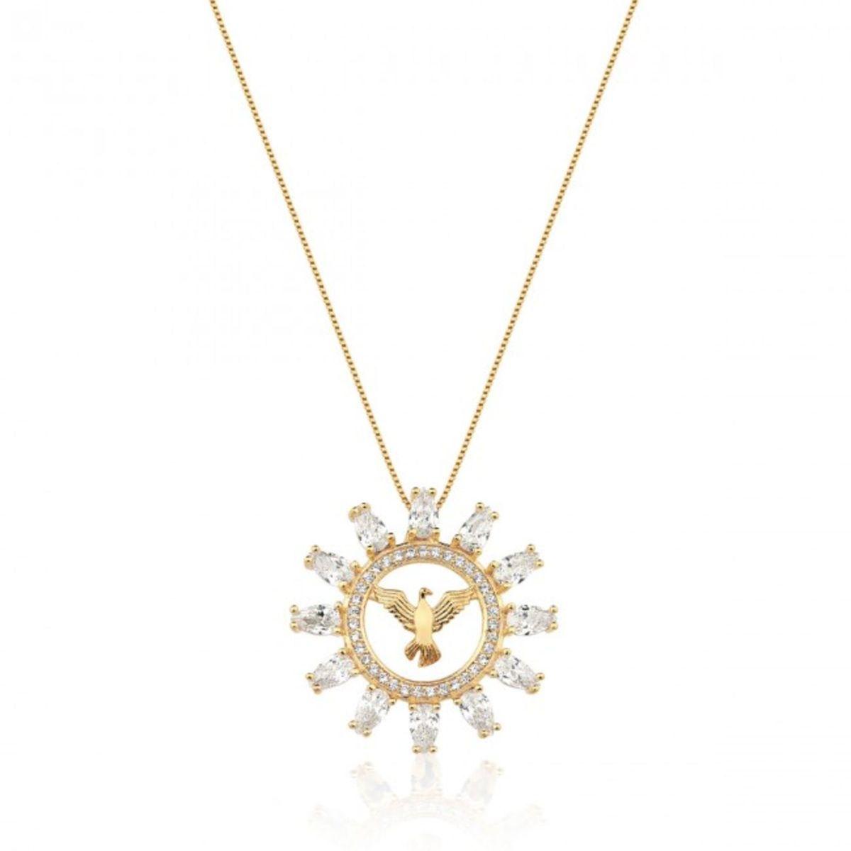 colar mandala divino espirito santo folheado a ouro com zirconias - jóias  sem marca 72b0ecf831