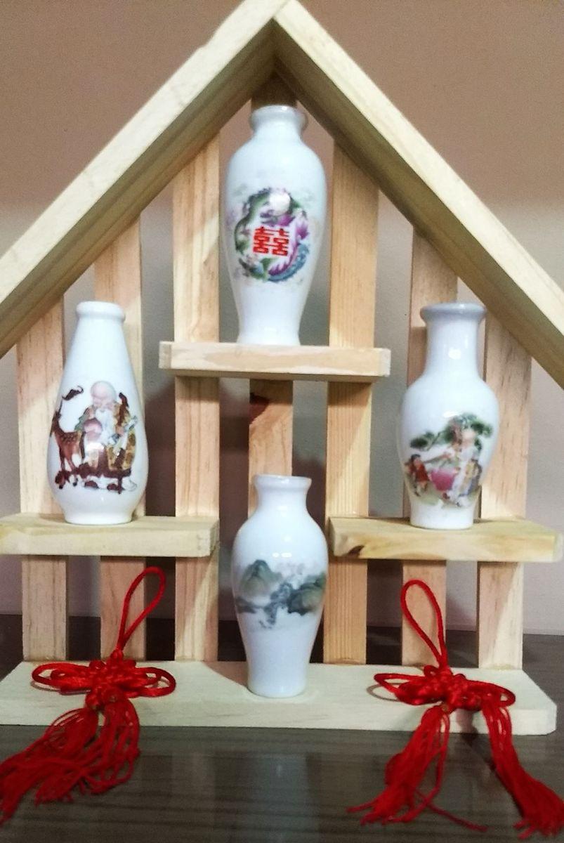 coleção vasos chineses decoração com estante madeira - outros sem marca