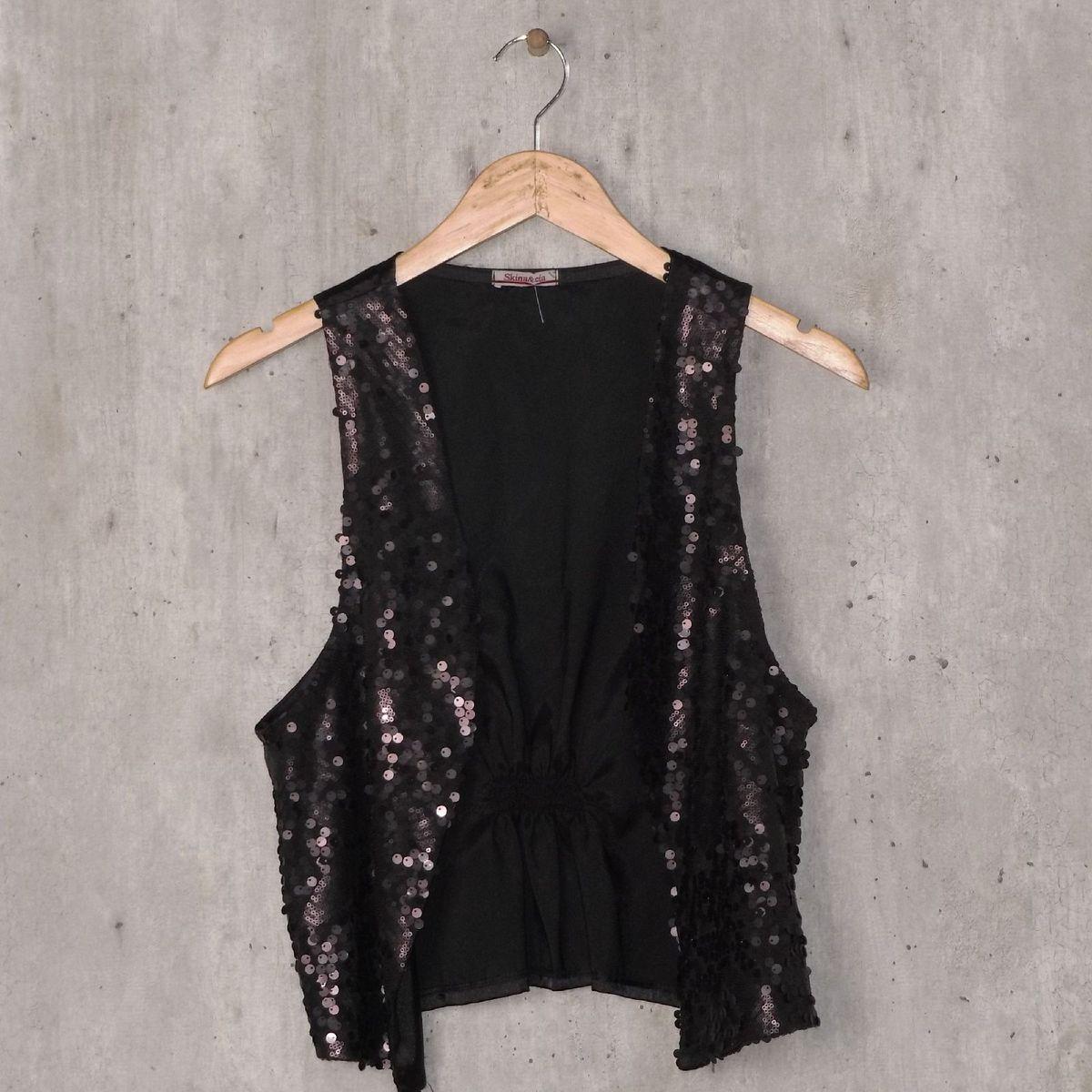 colete preto com strass - blusas skina&cia