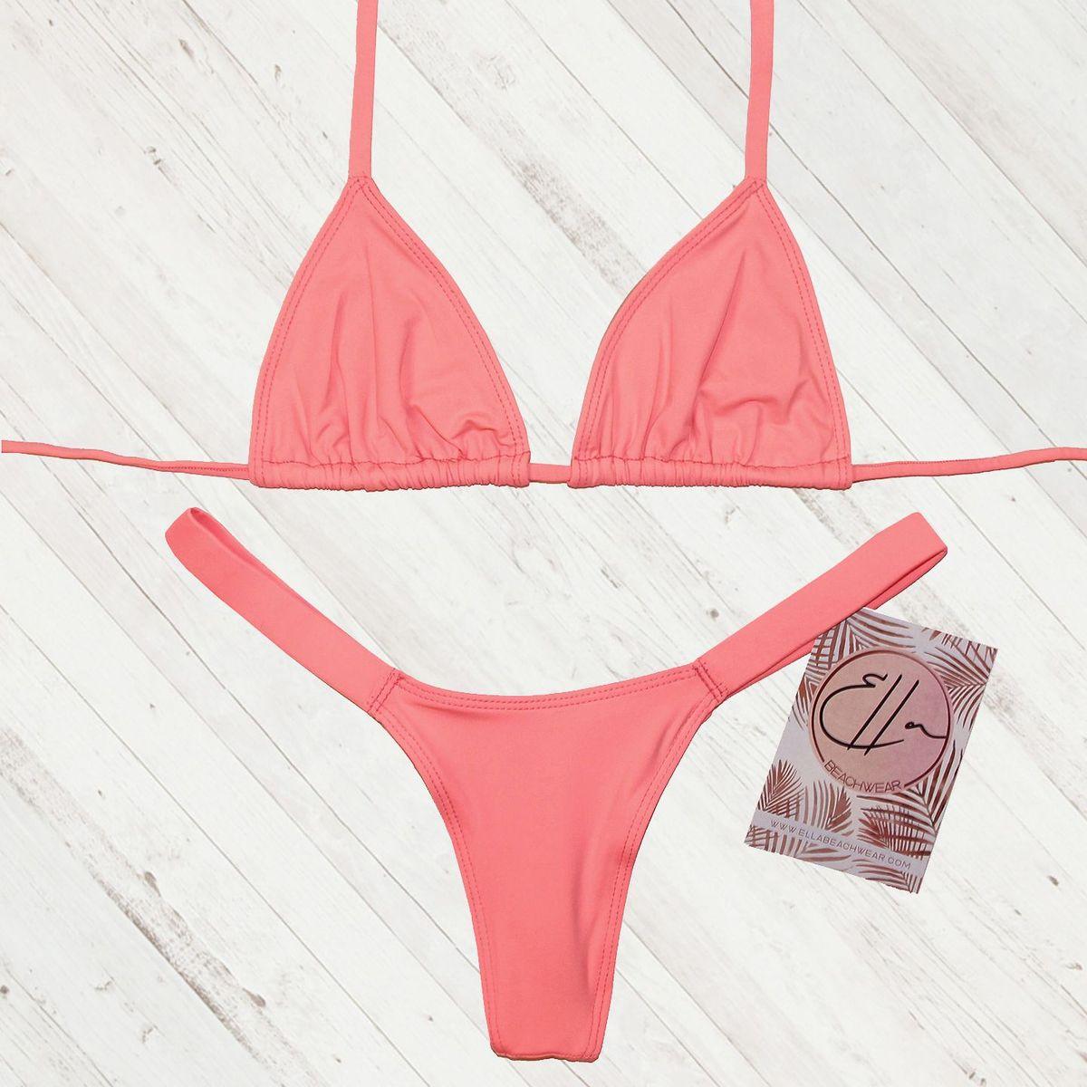 cc6019407 Conjunto Biquíni Marquinha Neon Coral Neon Rosa Fio Dental Cortininha Semi  Fio Asa Delta Verão | Moda Praia Feminina Ella Beachwear Nunca Usado  32721972 | ...