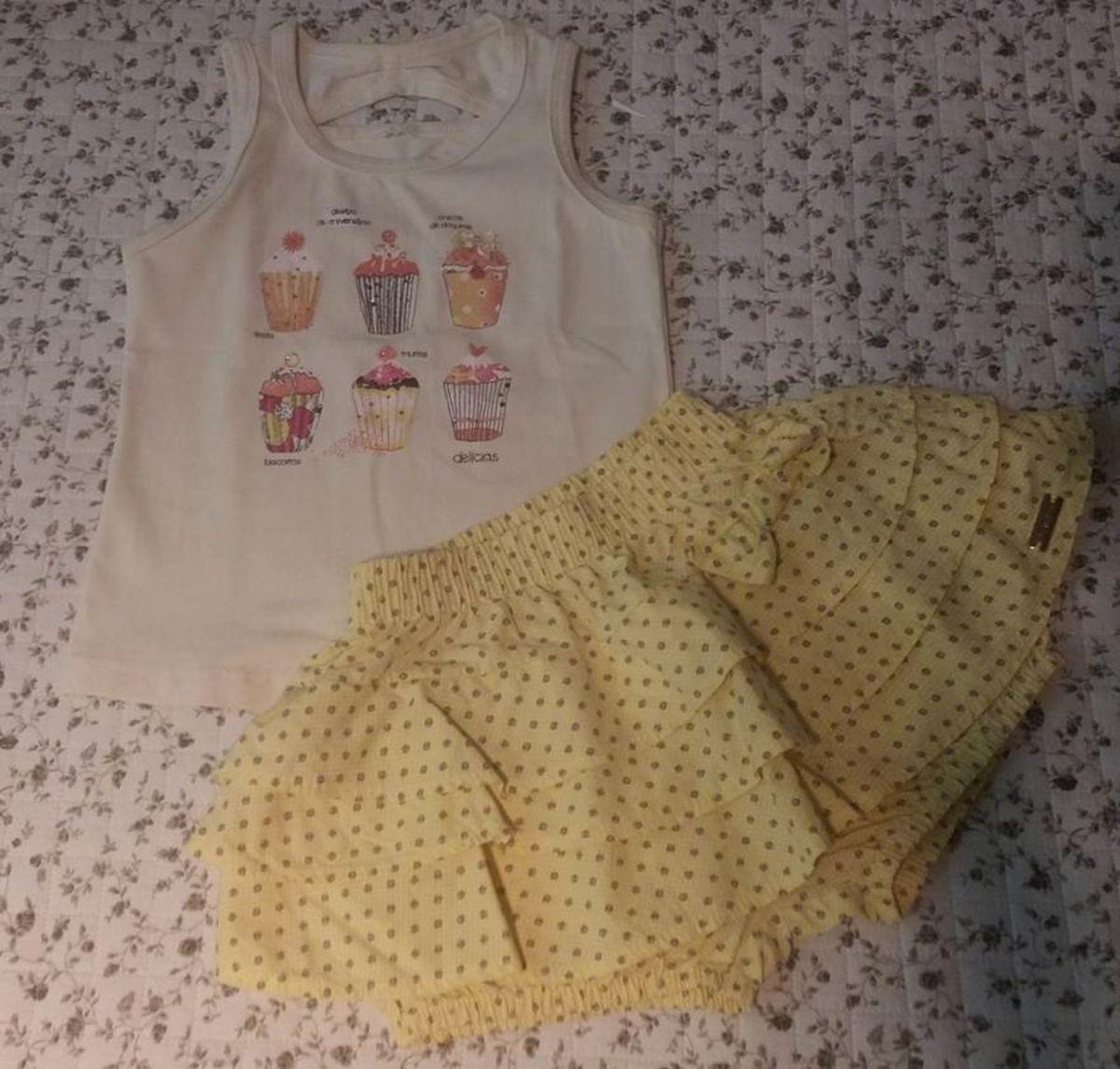 conjunto blusa e saia amarelo bebê menina - menina have fun c29e966b031