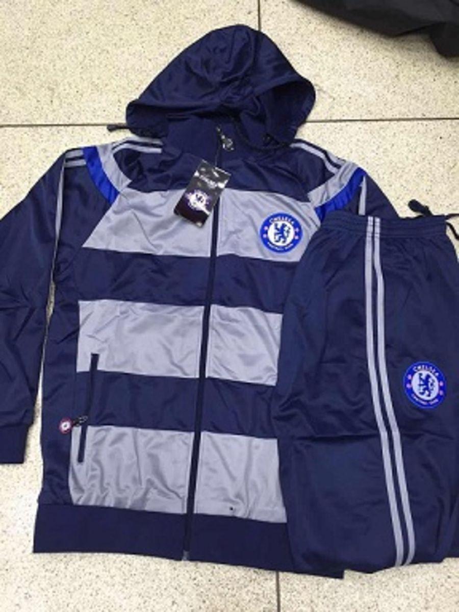 conjunto chelsea calca + blusa azul c cinza - casacos sem marca 99ebb77e0cbc3