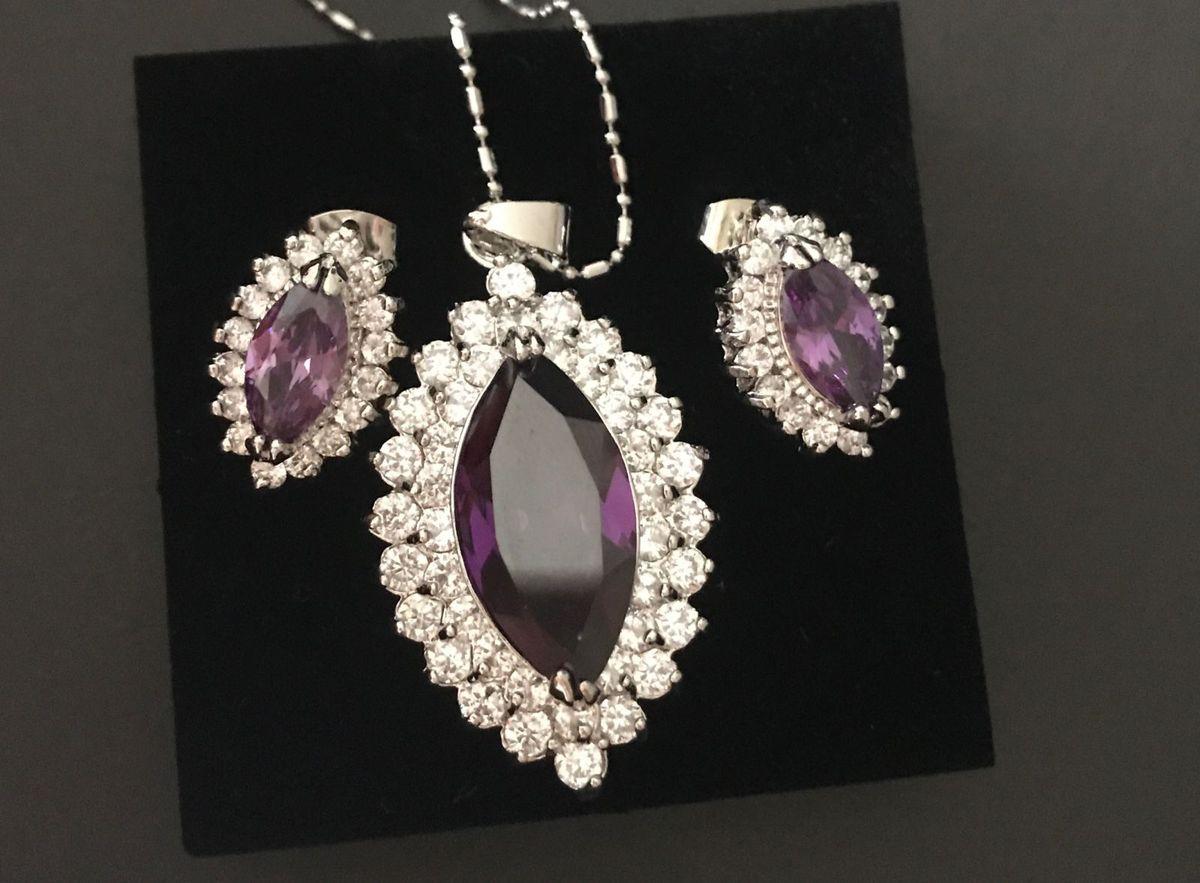 d5fe7e785c746 conjunto colar e brincos em prata banhado em ródio ametista - jóias life
