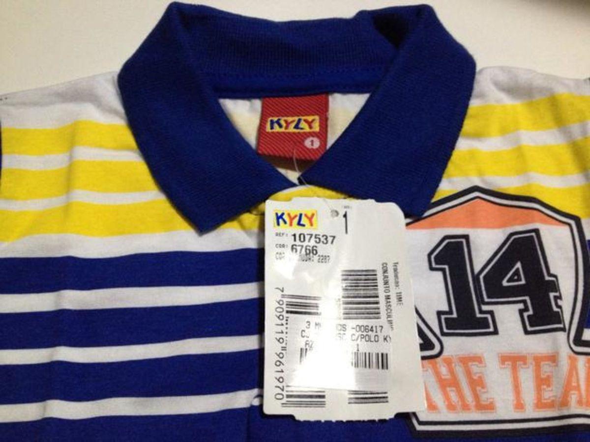 Conjunto com Camiseta Gola Pólo e Bermuda  ea215c49ce90f