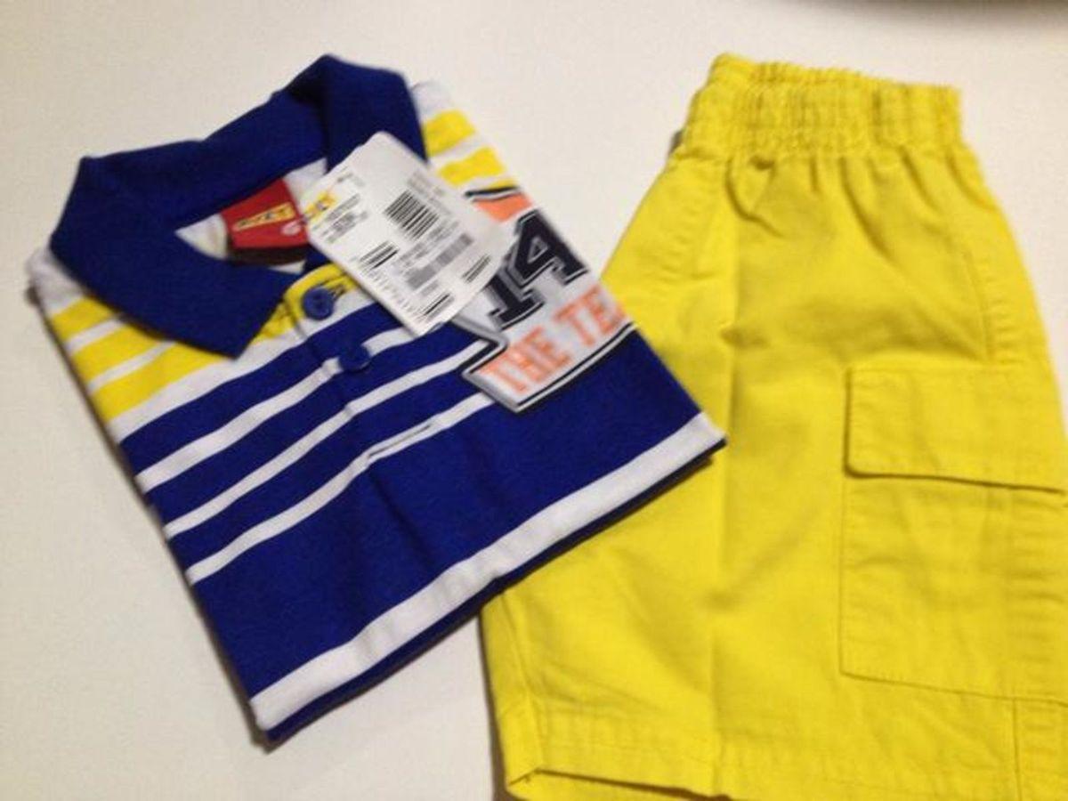 conjunto com camiseta gola pólo e bermuda - menino kyly d21e1b0a6059f