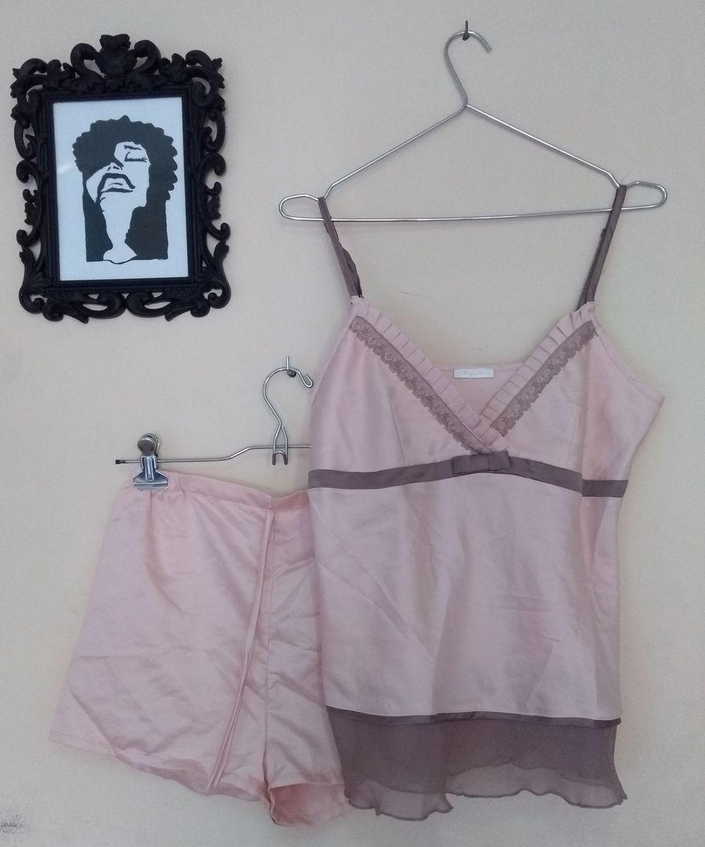 conjunto pijama de seda rosa claro - verão - lingerie any any