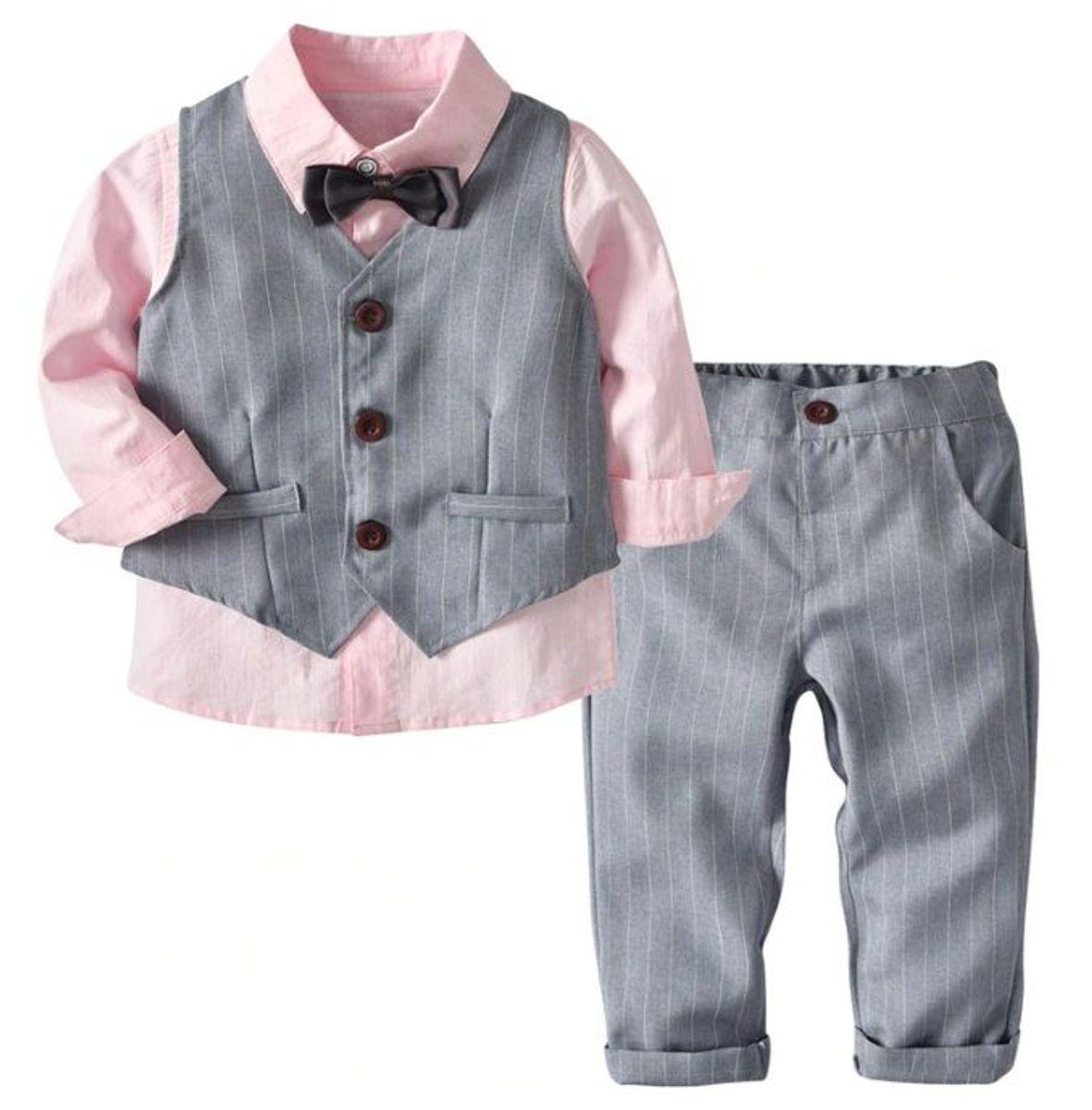 conjunto roupa infantil menino social pagem casamento rosa - menino kabeier ae2299cb7d