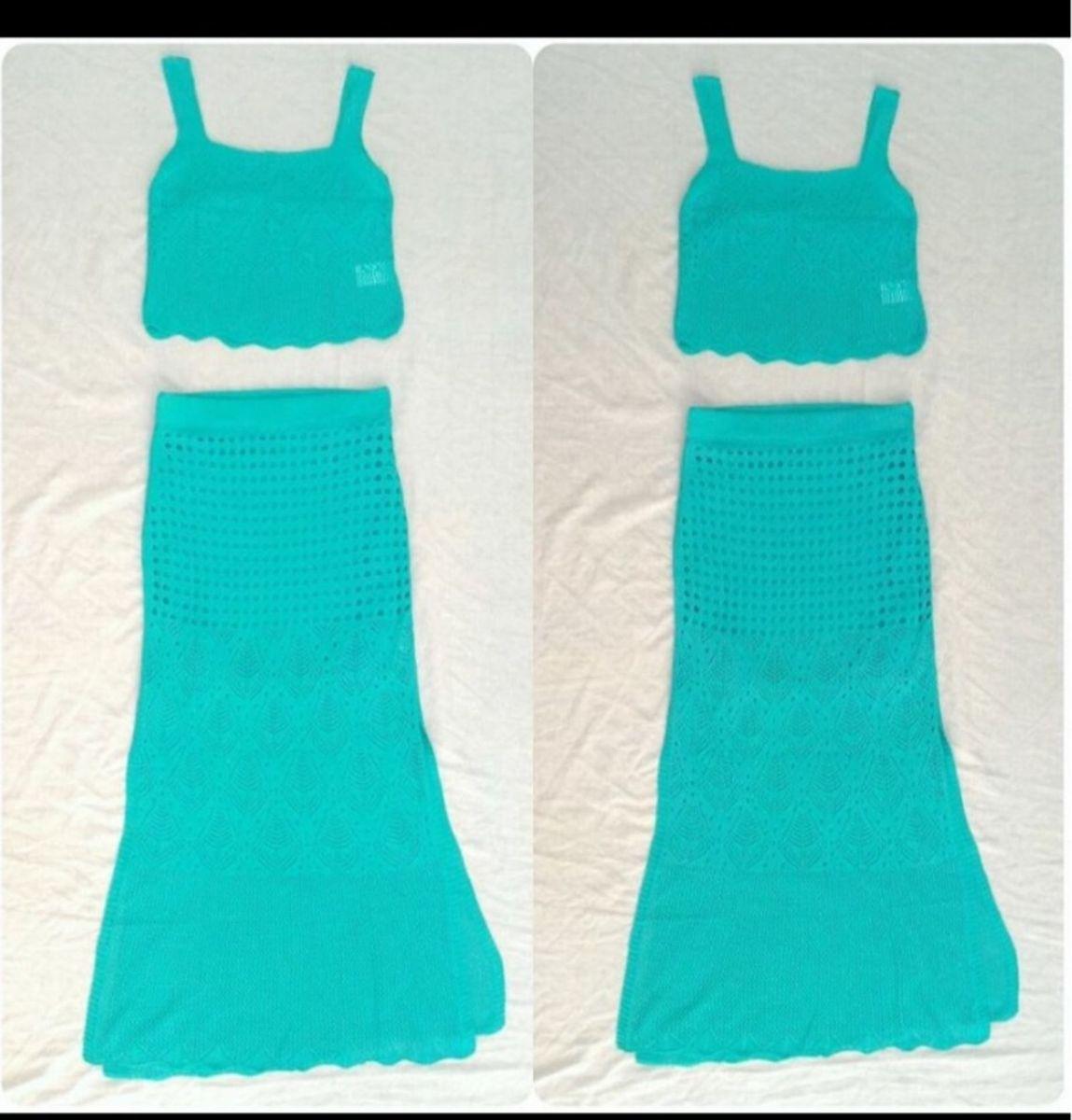 dd0194068 conjunto tricô tricot verde água tifanny cropped e saia longa - saias sem  marca