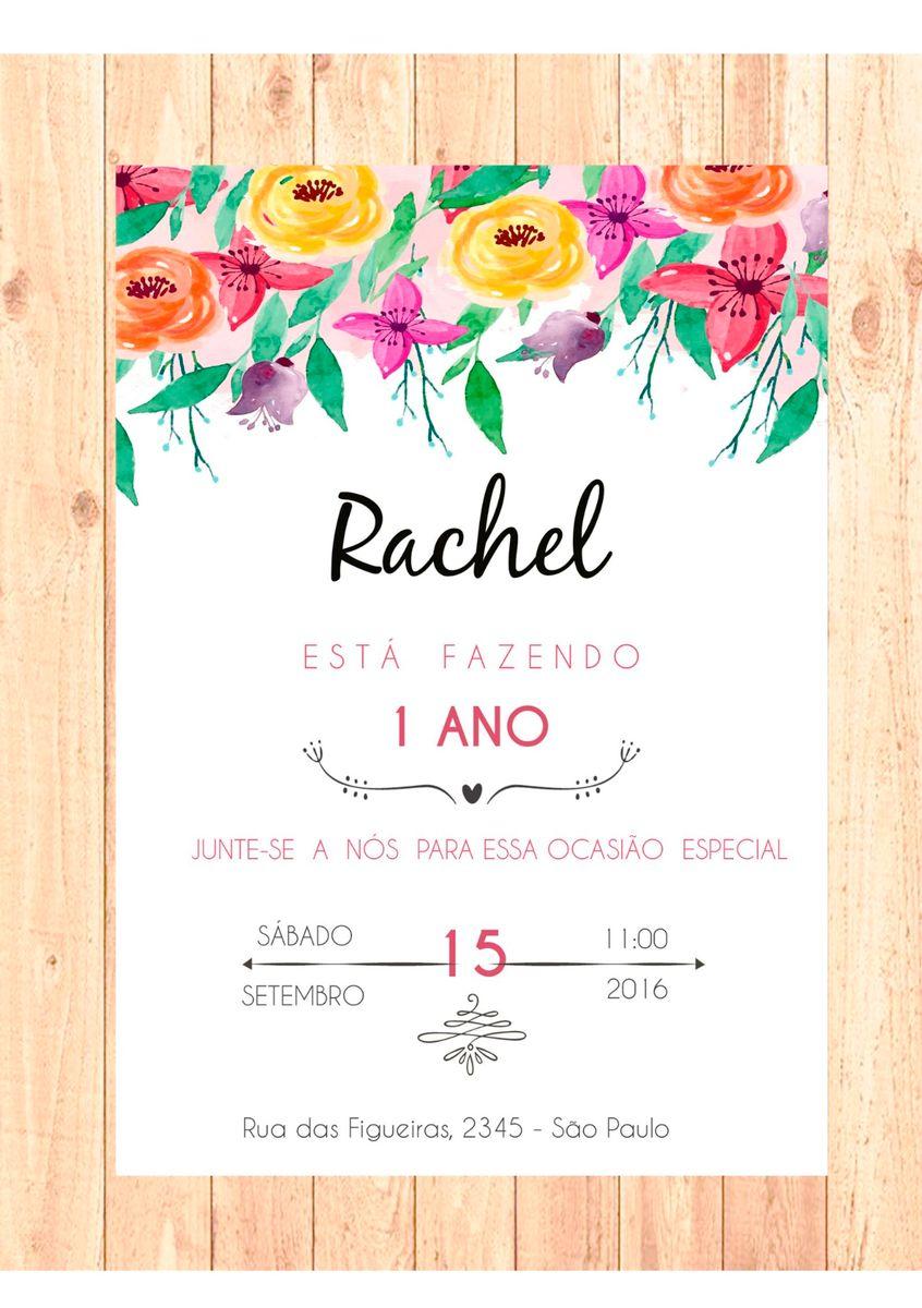 Convite Aniversário 1 Ano Digital Item De Papelaria Sartori Design