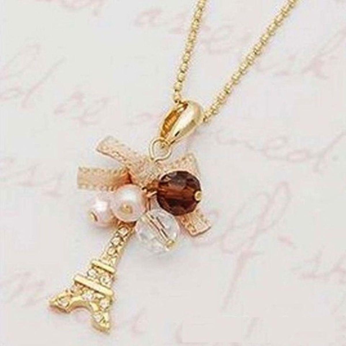 corrente gargantilha feminina pingente torre eiffel dourado - bijoux sem  marca be6564cd76
