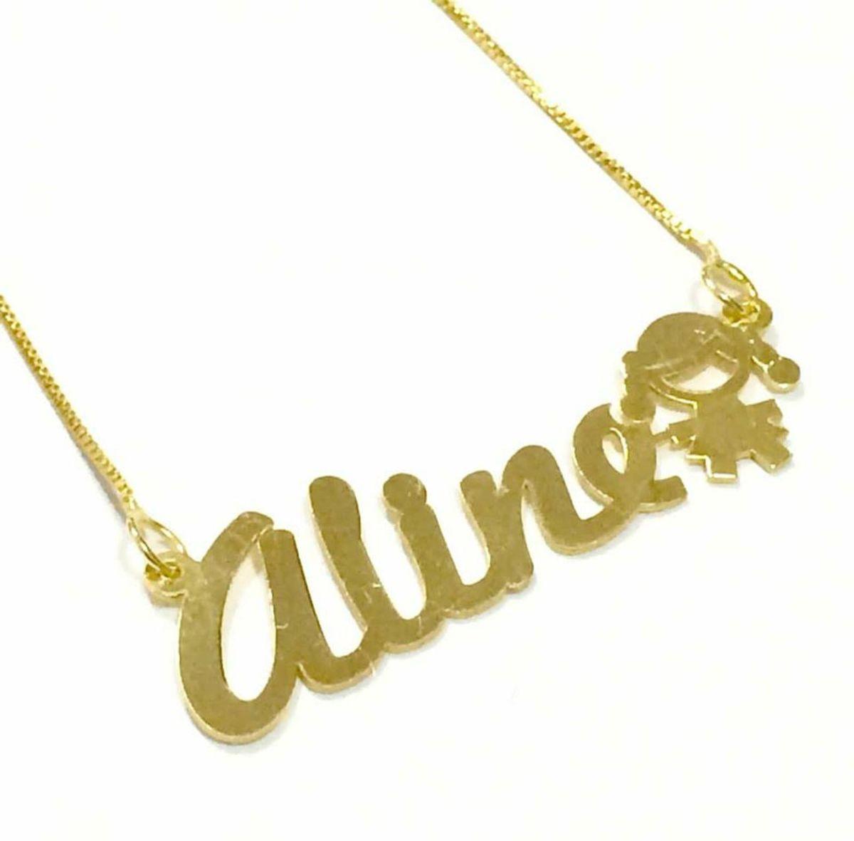 Corrente + Pingente Nome Personalizado Ouro 18k.   Jóia Feminina ... 658203aeac