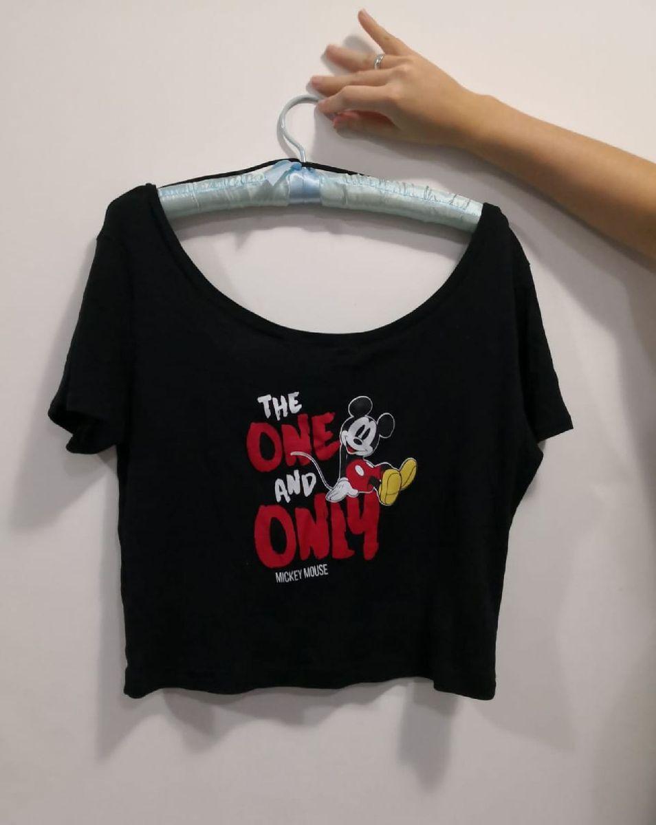 cropped mickey preto - camisas sem marca