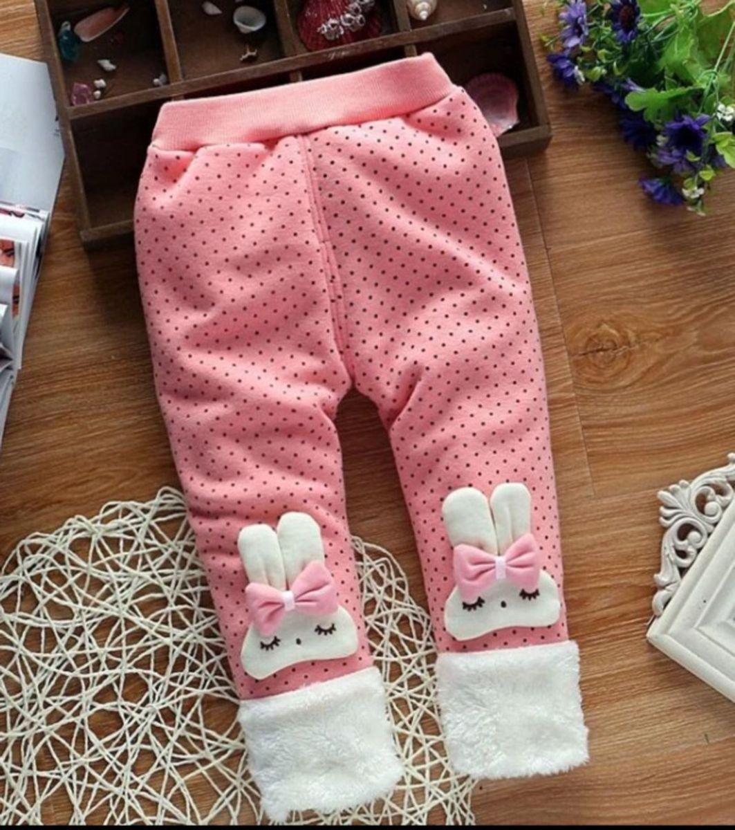 cute cute baby - calça forrada coelhinhos menina - menina infantil 9edcd5f170b