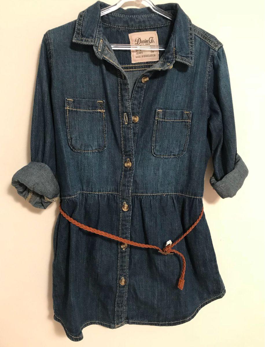 27697a427fa62c denim co: vestido jeans para menina 3-4 anos. semi-novo!