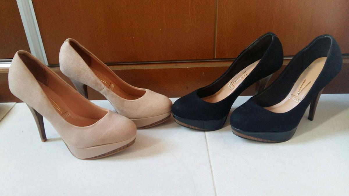 f25babf5db dois scarpin vizzano salto alto bico redondo - sapatos vizzano