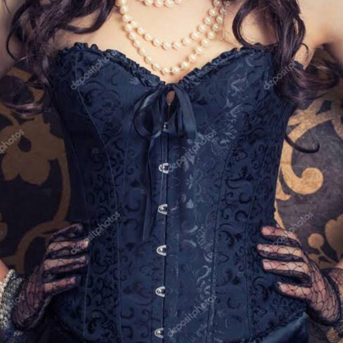 espartilho corselet preto - lingerie h-e-r