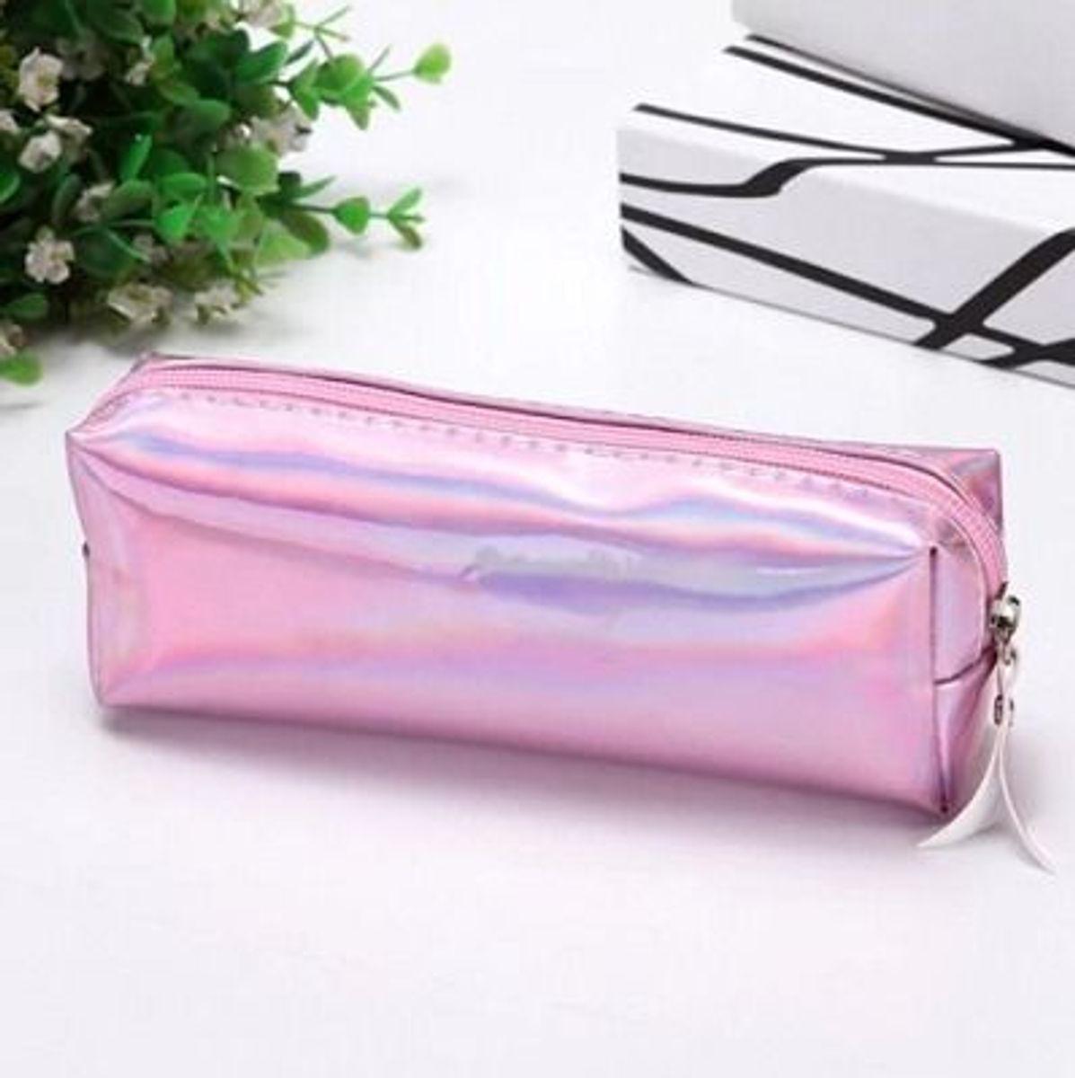 estojo escolar rosa holográfico brilhante necessaire pink - papelaria sem marca